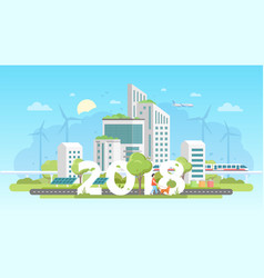 Modern eco city - colorful flat design style vector