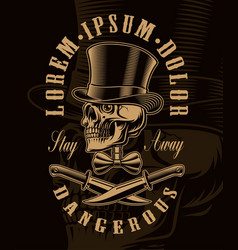 monochrome of a skull in hat with crossed knifes vector image