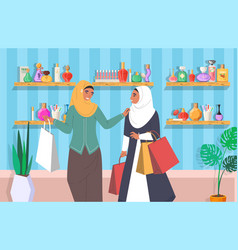 Muslim girls in perfume store flat vector