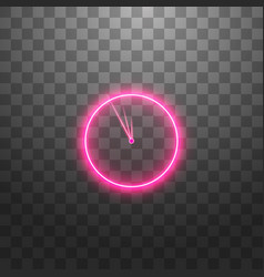 Neon light clock line icon time sign office vector