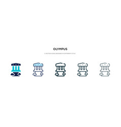 Olympus icon in different style two colored and vector