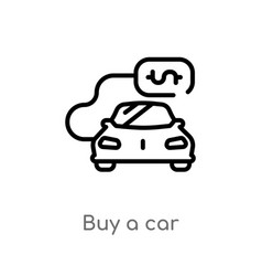 outline buy a car icon isolated black simple line vector image