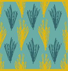 pale pattern with abstract blue and olive grass vector image