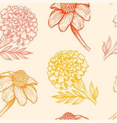 pattern with orange and yellow flowers vector image