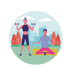 people exercising at park icon vector image