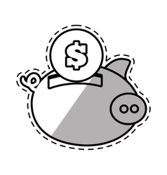 piggy money safety bank cut shadow vector image