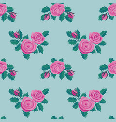 Pink rose embroidery seamless pattern vector