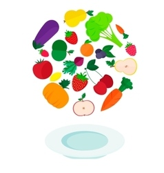 Plate with fresh vegetables and fruits vector