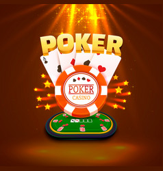 Poker table with the cards and chips background vector