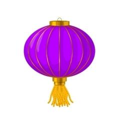 Purple chinese paper lantern icon cartoon style vector