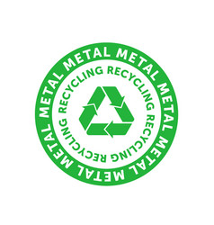 recycling metal green circle badge with mobius vector image