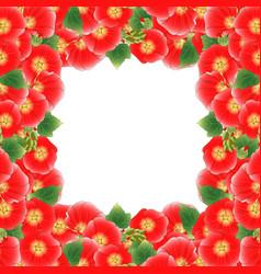 red alcea rosea border - hollyhocks vector image
