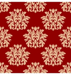 Red damask style arabesque pattern vector