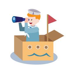 Sailor kids use binocular toy on boat cardboard vector