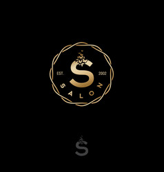 salon logo gold s letter butterflies circle vector image