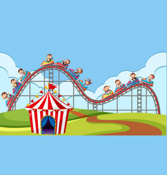 scene with monkey riding roller coaster in the vector image