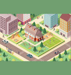 scenery view on kindergarten with playground vector image