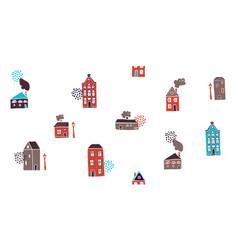 Seamless pattern hand drawn scandinavian houses vector