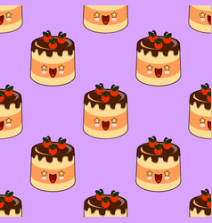 seamless pattern of smiling kawaii style cake on a vector image