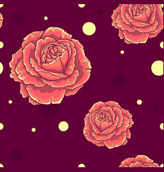 Seamless pattern with orange roses vector