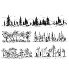 set different landscapes with trees vector image