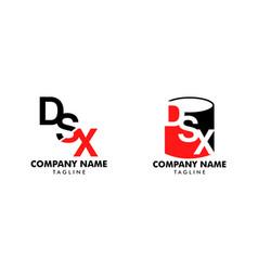 set initial letter dsx logo template design vector image