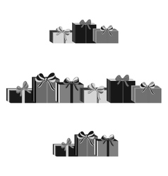 Set of different gray wrapped gift boxes flat vector