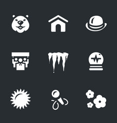 set of groundhog day icons vector image