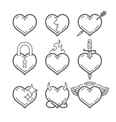 set of line art hearts vector image
