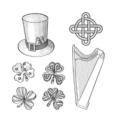 Set of Saint Patricks Day hand drawn design vector image