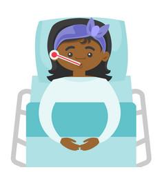 Sick african-american woman measuring temperature vector