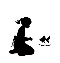 silhouette girl sitting knees wish agoldfish vector image