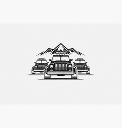 silhouette off road cars near mountain range vector image