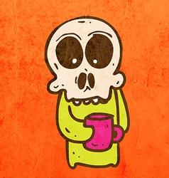 Skeleton with Coffee Cartoon vector image