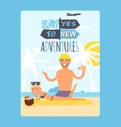 summer vacation typographic poster inspirational vector image