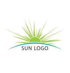 Sun and sea travel logo template vector