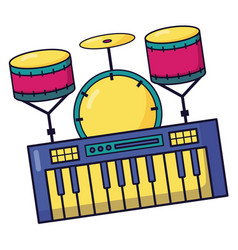 synthesizer drums music colorful background vector image