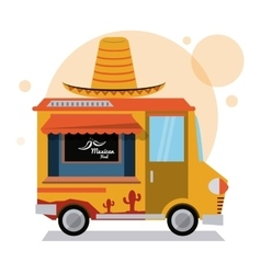 Taco truck fast food icon graphic vector