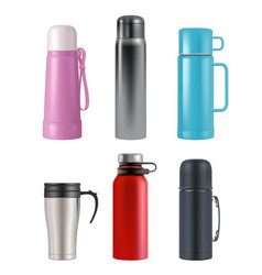 Thermos mockup realistic cup round containers vector