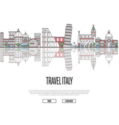 travel tour to italy poster in linear style vector image