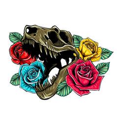 tyrannosaurus skull with roses vector image