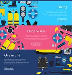 underwater diving horizontal banner vector image