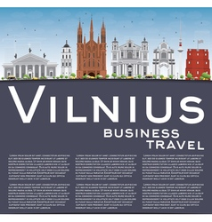 Vilnius Skyline with Gray Landmarks Blue Sky vector image