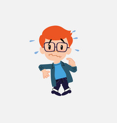 White boy with glasses scared vector