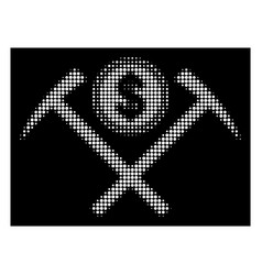 White halftone dollar mining hammers icon vector