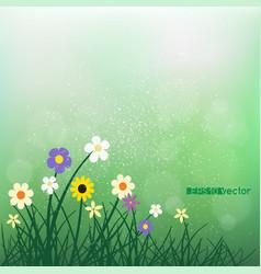 Wild flowers and grass on blur green bokeh vector