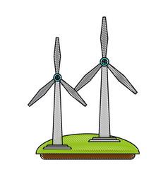 wind turbines green energy vector image