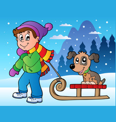 winter scene with boy and sledge vector image