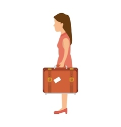 Woman with a suitcase cartoon vector