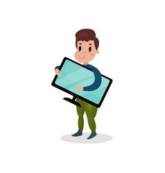 young man holding computer monitor harmful habit vector image